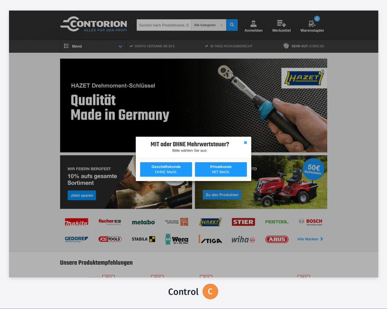 Control of the Test 1 on Contorion website
