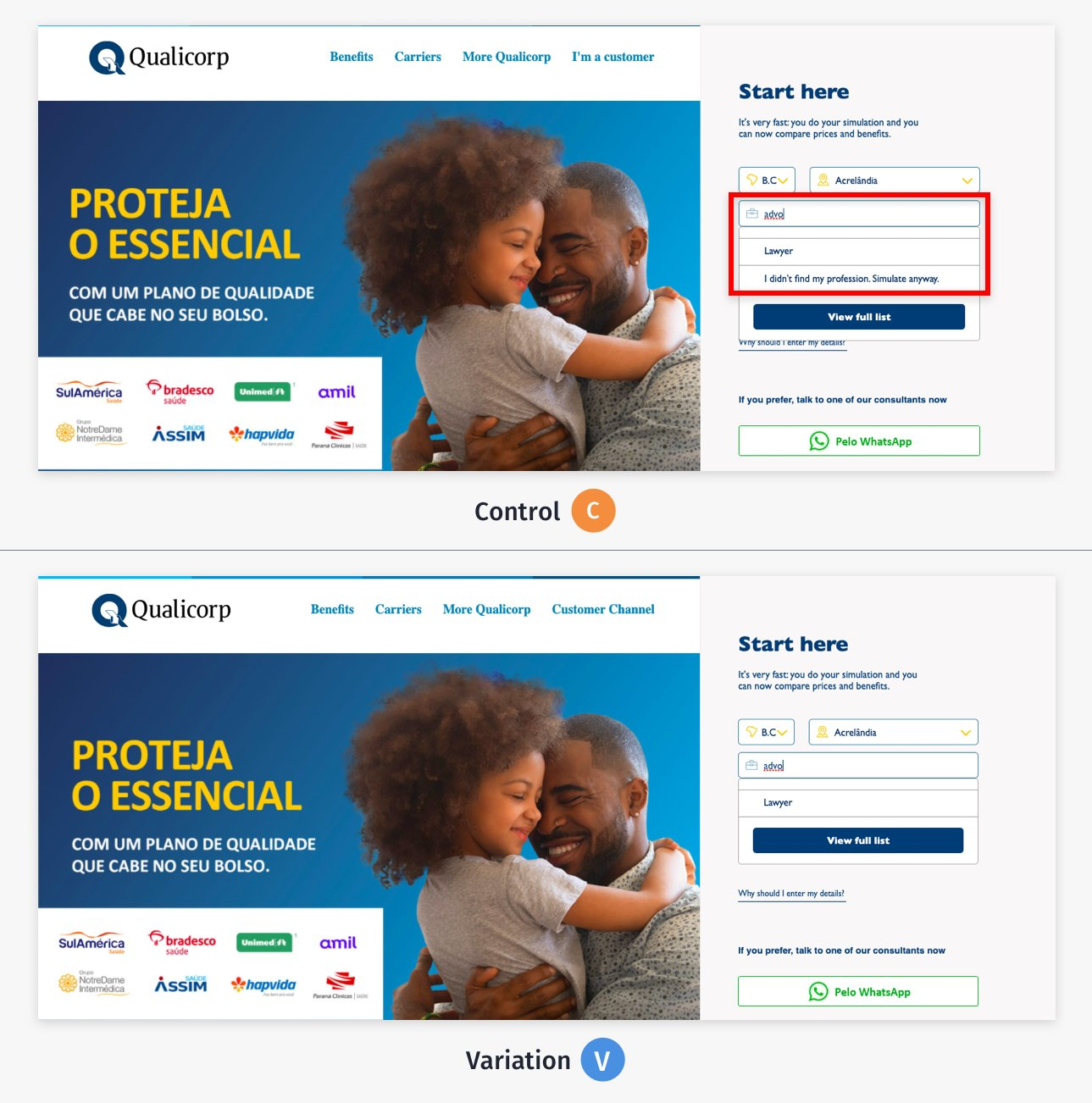 a/b test 2 on Qualicorp website