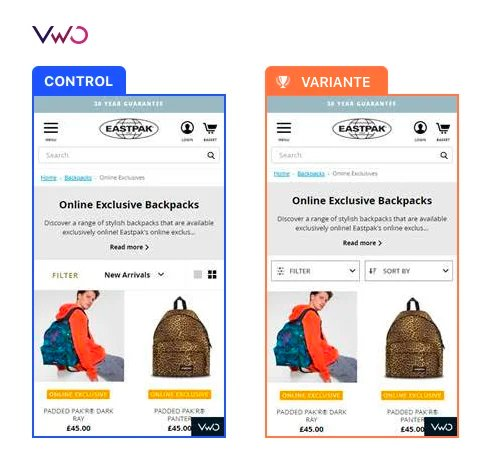 Eastpak Control and Variations for A/B test