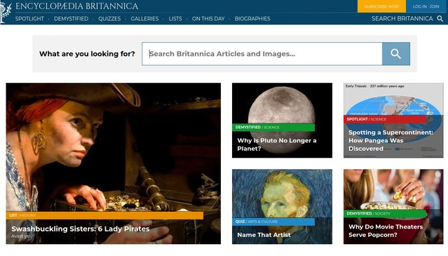 Test on the CTA test of Encyclopedia Britannica online store