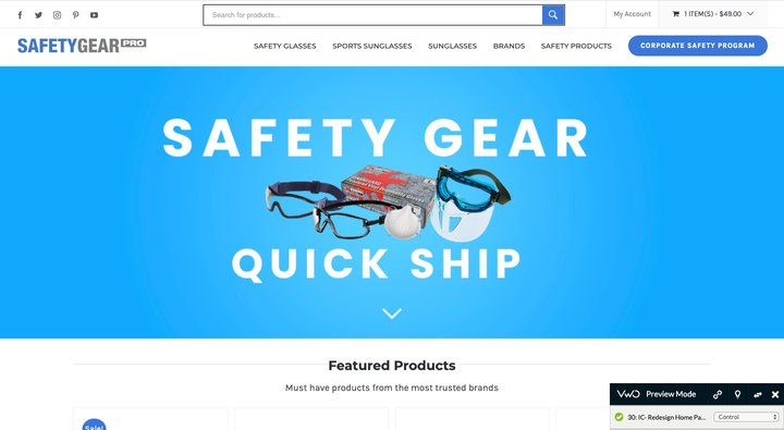 control of the a/b test on Safety Gear Pro