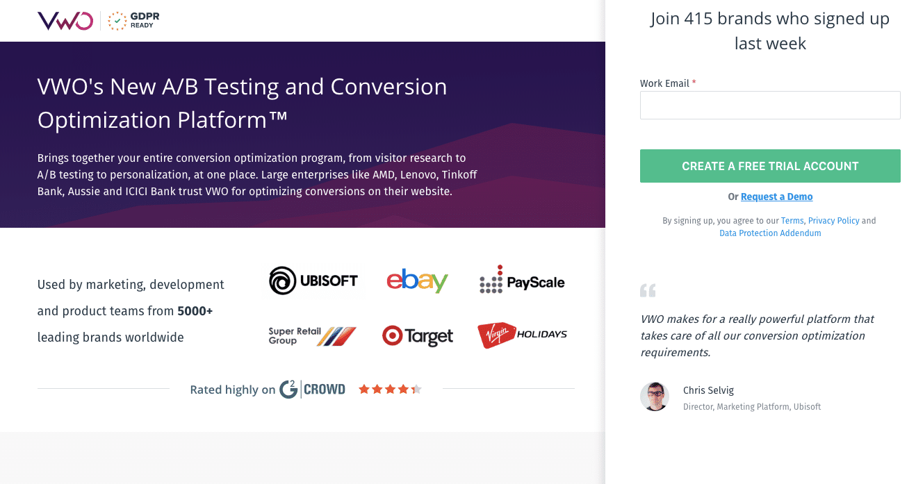 tailored landing pages for new visitors