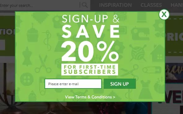 Pop-up Subscription Web Forms