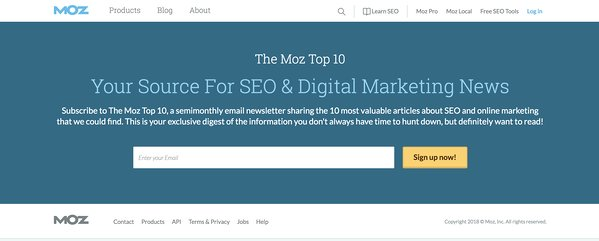 moz home page sign up form