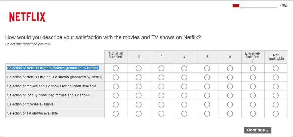 netflix.com customer survey web form