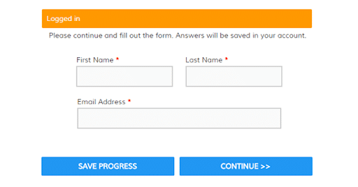 example of save progress button on web forms