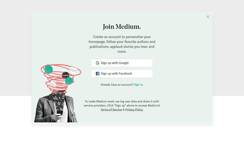 medium.com sign up web form