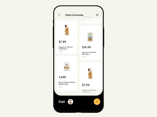 customized in-app search page layout for an ecommerce app