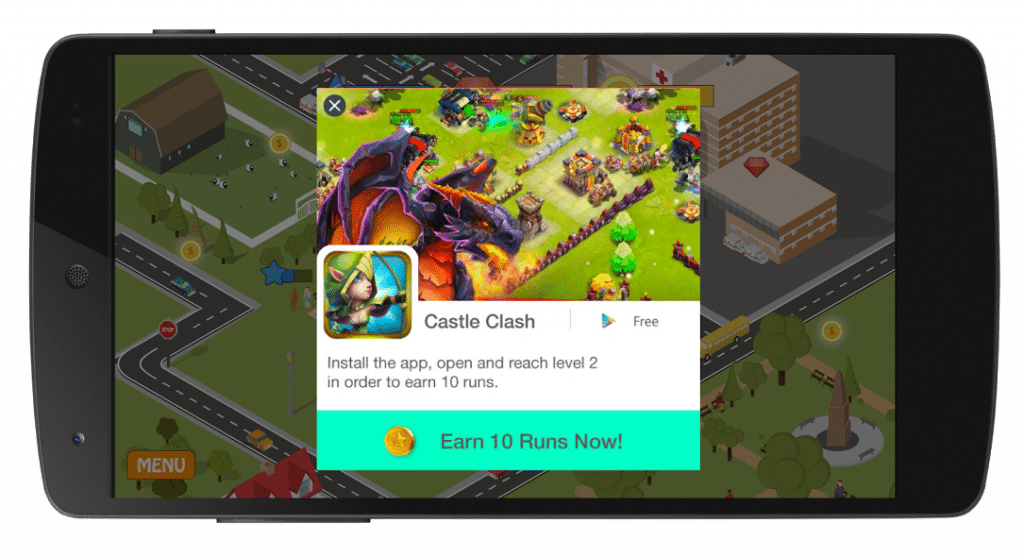 example of in-app advertisements within gaming apps