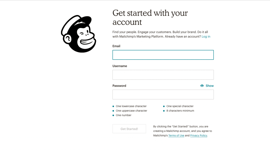 MailChimp's sign up web form