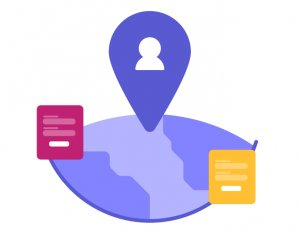 illustration showcasing how surveys can only be run on visitors coming from a certain location