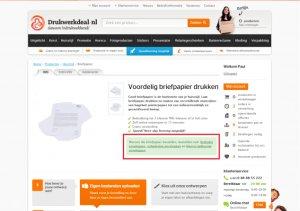 control version of the a/b test on Drukwerkdeal's website