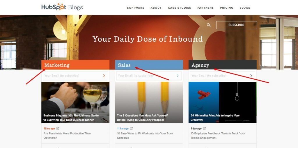 Contenido personalizado basado en los tipos de visitantes del blog de HubSpot