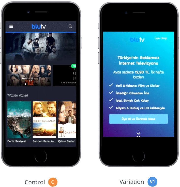 conversion rate optimization campaign on the mobile website of BluTV