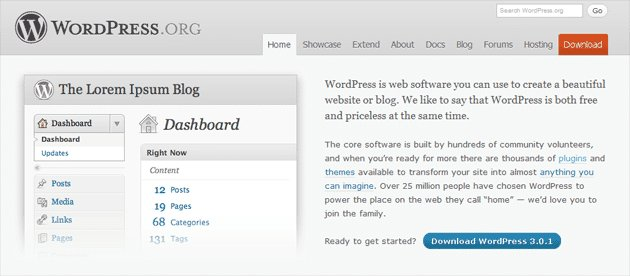a snapshot of the WordPress website to show lack of prominent CTA