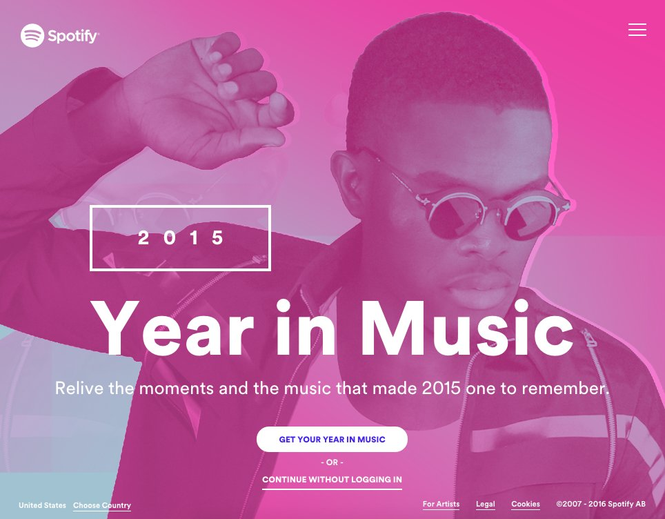 screenshot of Spotify's year in music microsite