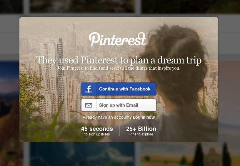 screenshot of Pinterest's landing page copy