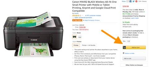 Captura de pantalla de la página de producto de Amazon
