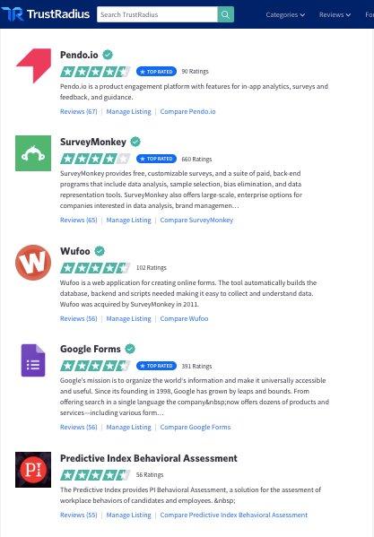 Reviews of popular website survey tools on TrustRadius