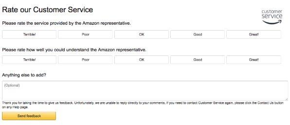 snapshot of Amazon's customer service survey
