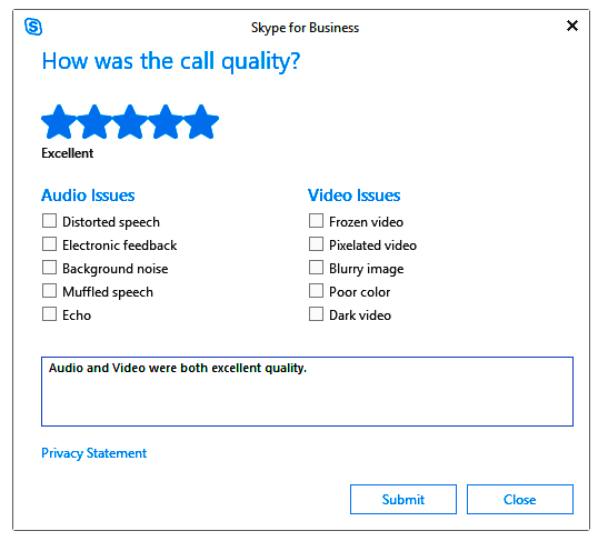 snapshot of the customer survey feedback from Skype