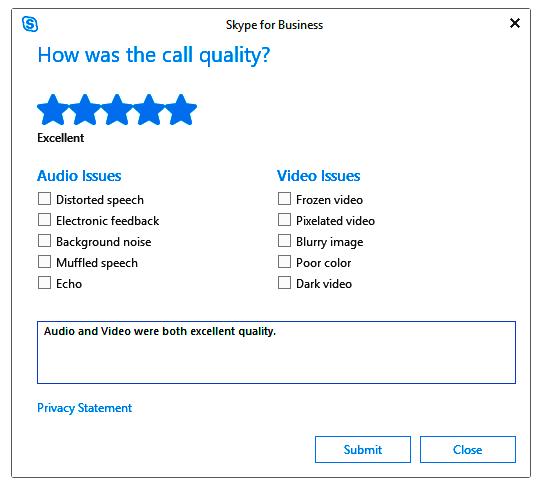 snapshot of the customer survey feedback from Skype