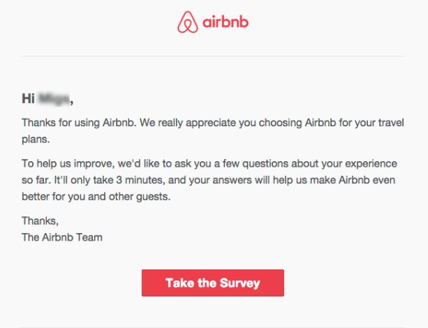 an example of conducting website surveys from airbnb
