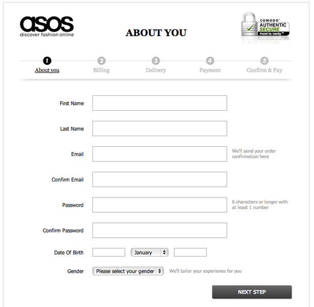 account creation process on asos fashion ecommerce store