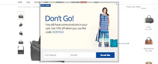 exit intent pop-ups help reduce dropoffs on checkout pages
