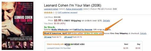 Sentido de urgencia en el eCommerce de Amazon para aumentar las ventas