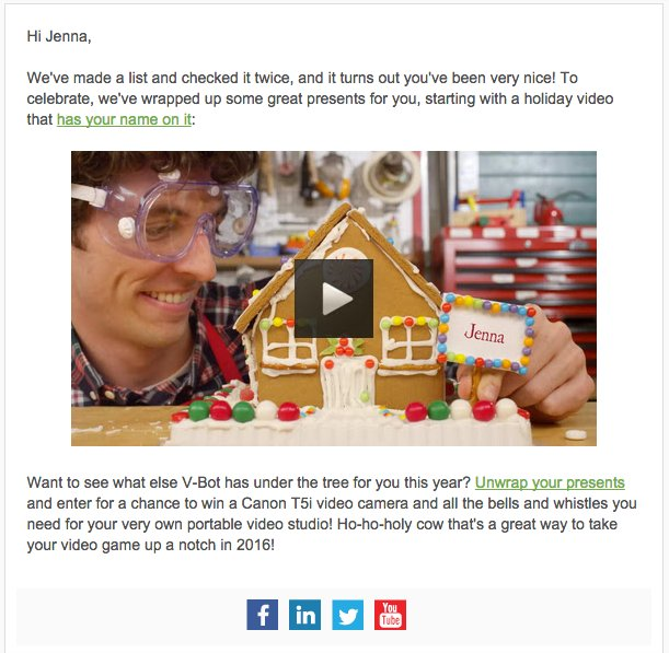 example of B2B holiday campaign by Vidyard