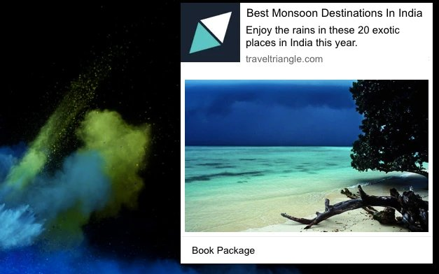 screenshot of a web push notification from a travel website promoting the best monsoon destinations
