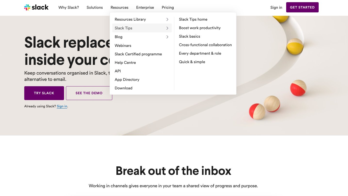 screenshot of the website header menu of Slack