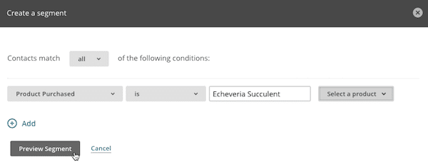 screenshot of how to create segments within the MailChimp product.