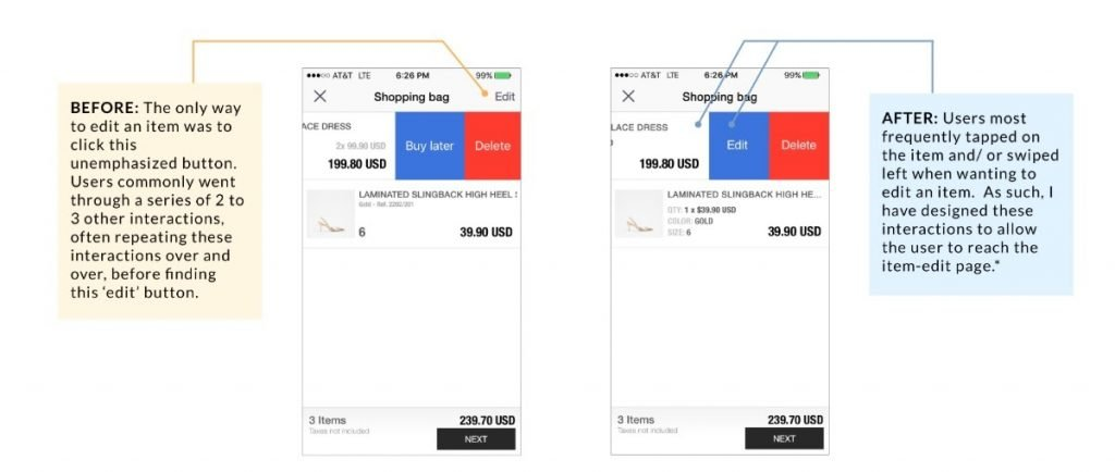 screenshot of the results from the usability test on an ecommerce app