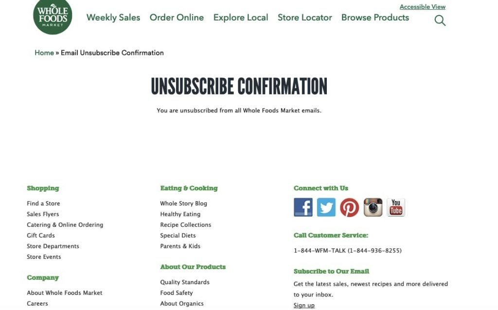 Whole Foods Unsubscription Page