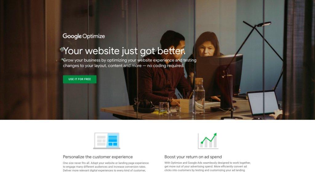 Google Optimize 360 homepage