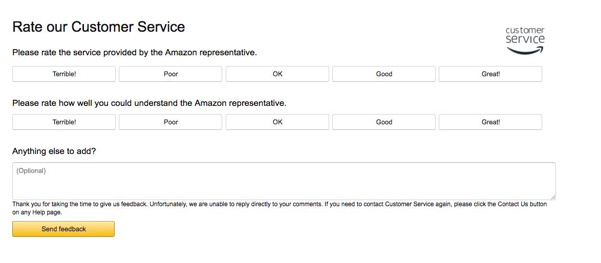 Amazon's Survey Form