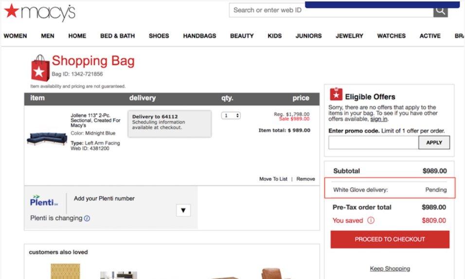 visitor's cart behavior on Macy's ecommerce site