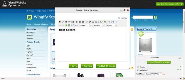how VWO test editor looks like on a bigcommerce website