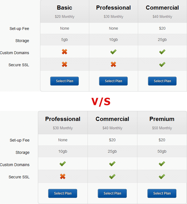 plans and pricing for an imaginary software company