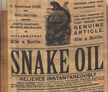 publicity of snake oil as a remedy for diseases