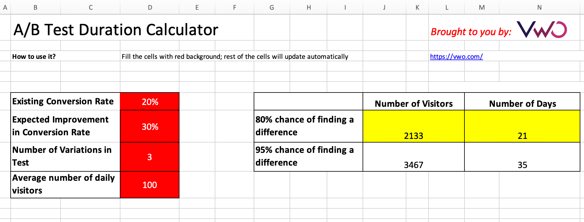 ab test duration calculator excel sheet