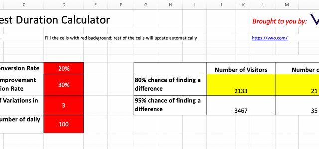 A/B Test Duration Calculator [Free Downloadable Excel]
