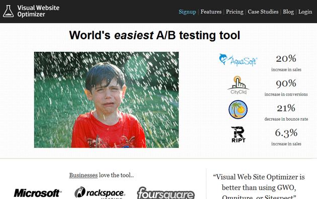 variation of the homepage for visualwebsiteoptimizer.com