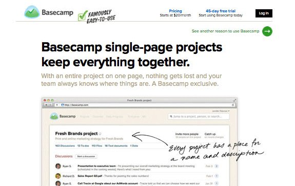 snapshot of the homepage of Basecamp