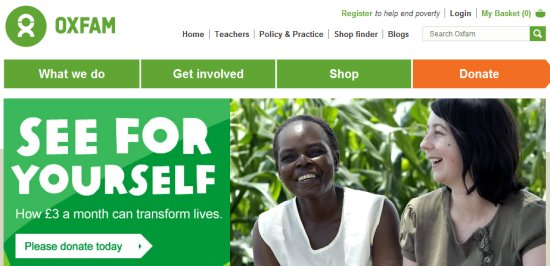 home page for Oxfam's website