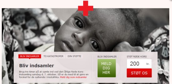 home page for RedCross Denmark's website