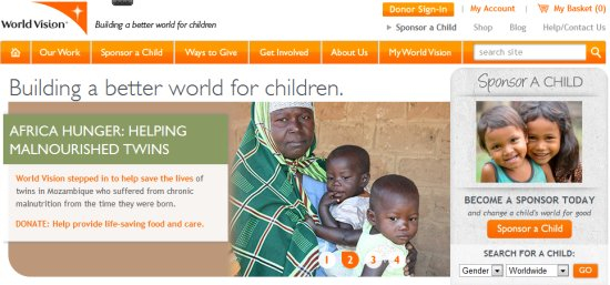 home page for World Vision's website
