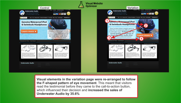 image comparing the two versions of the a/b test on Underwater Audio